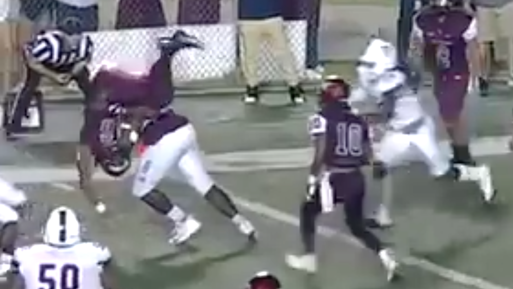 N.C. Central QB Flipped and Body Slammed on Two-Point Conversion Attempt
