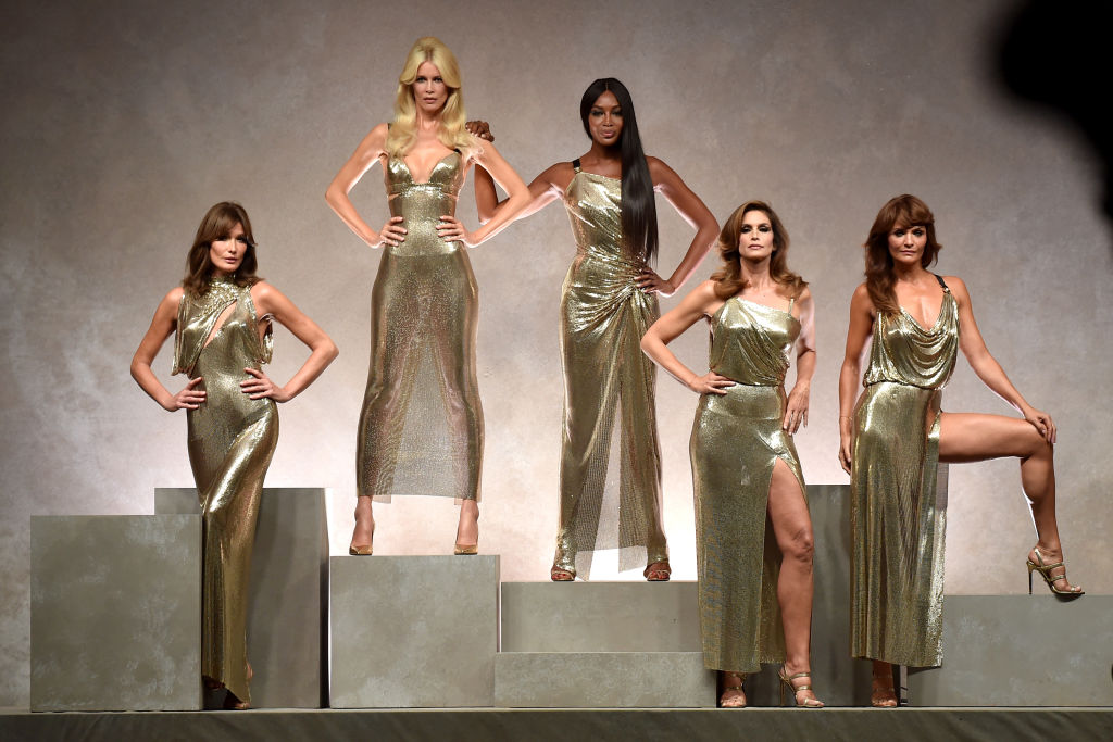 watch the original 90s supermodels strut to george michael's freedom in honour of gianni versace