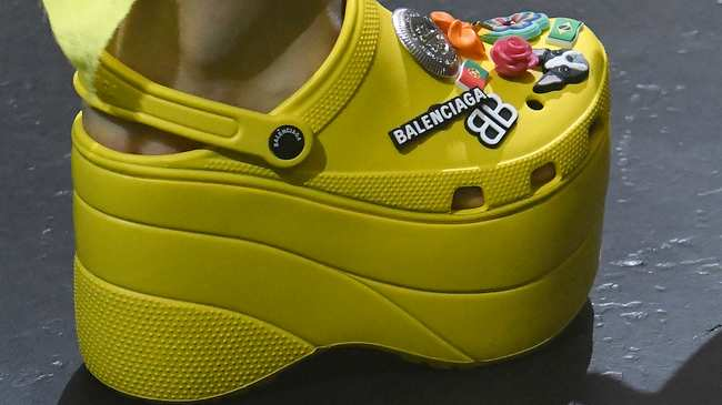 "11d660a2a crocs and ""good fake news"" are the headlines at a brilliant balenciaga show"