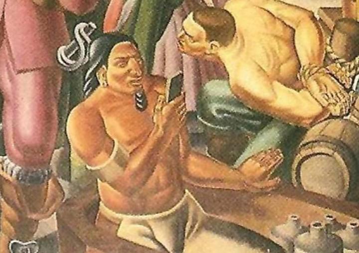 Por qué hay un hombre con un iPhone en este mural de 1937