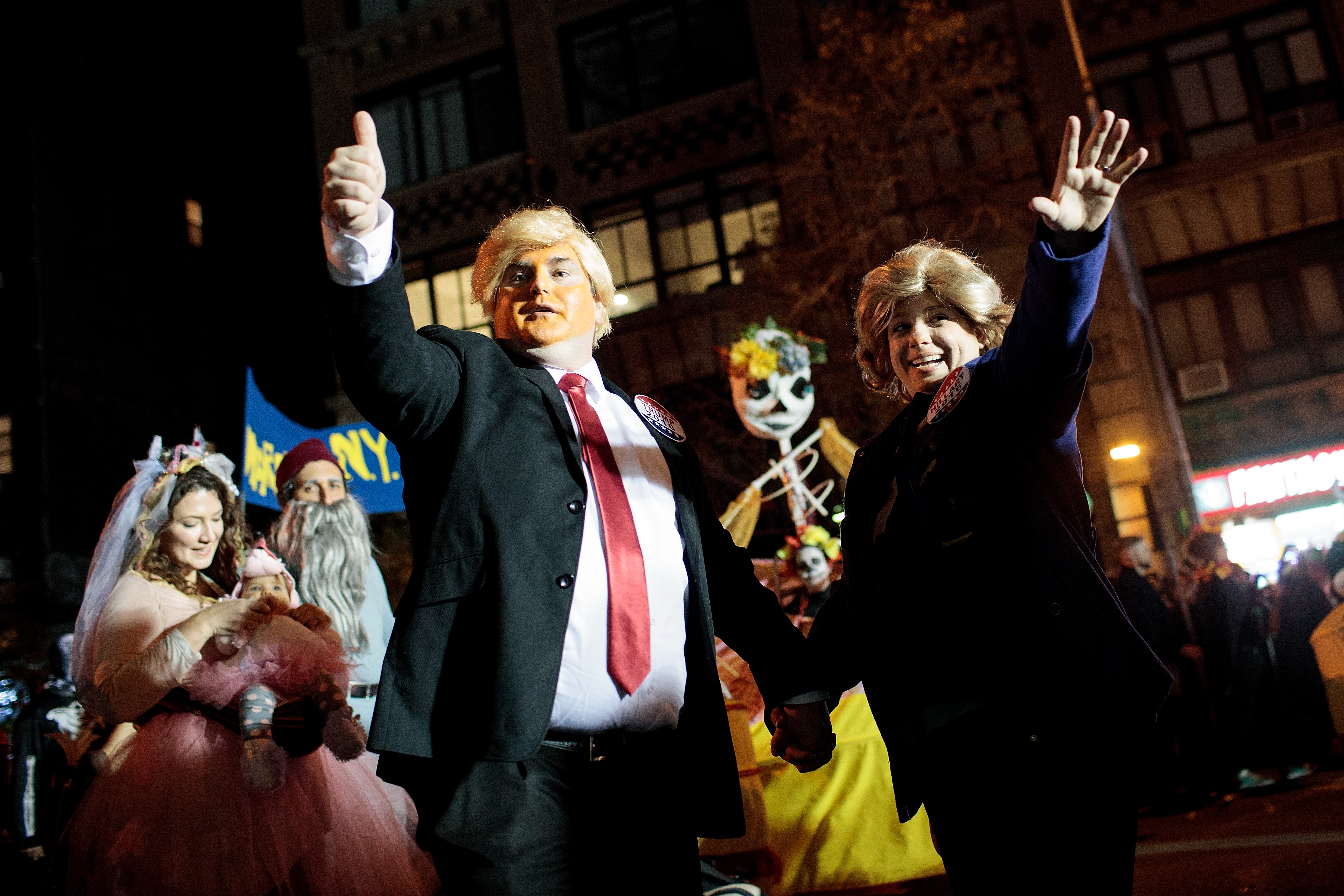 donald trump and hillary clinton costumes at the village halloween parade in nyc photo by drew