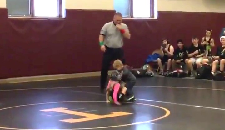 Two-Year-Old Brother Intervenes in Big Sister's Wrestling Match