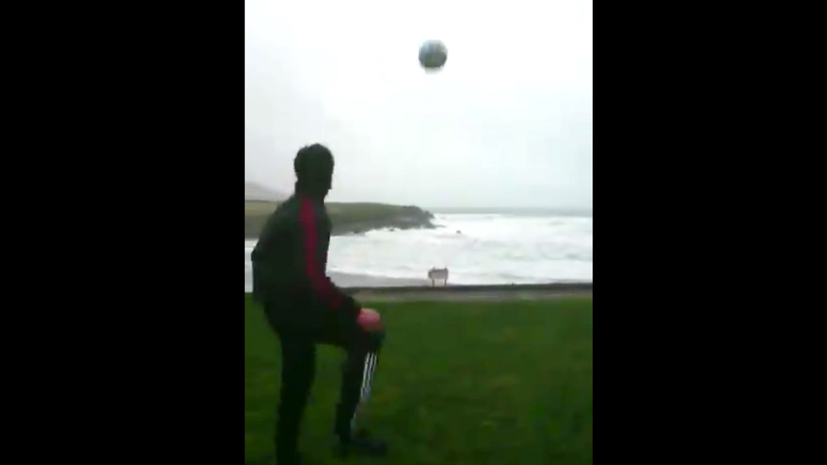 Video of Man Kicking Ball Into the Wind Perfectly Captures Life's Futility