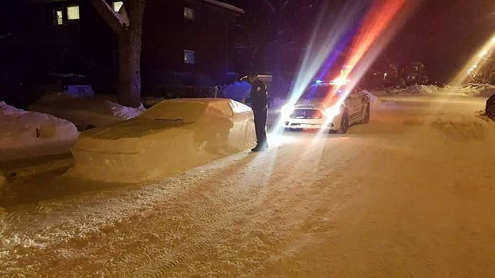 This Canadian Fooled the Cops with a Car Made Out of Snow