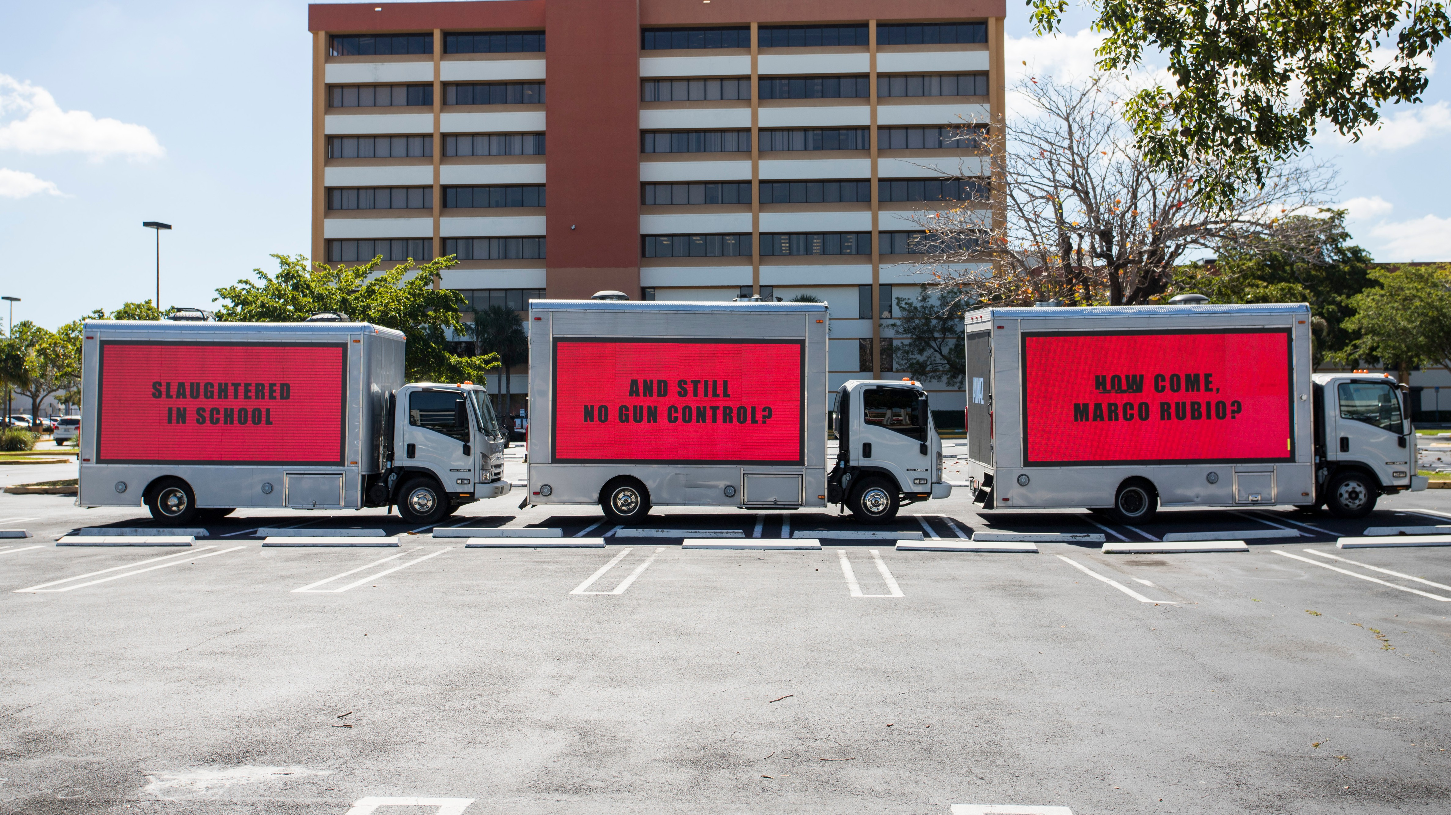 These Three Billboards Outside Marco Rubio's Office Demanded Gun Control