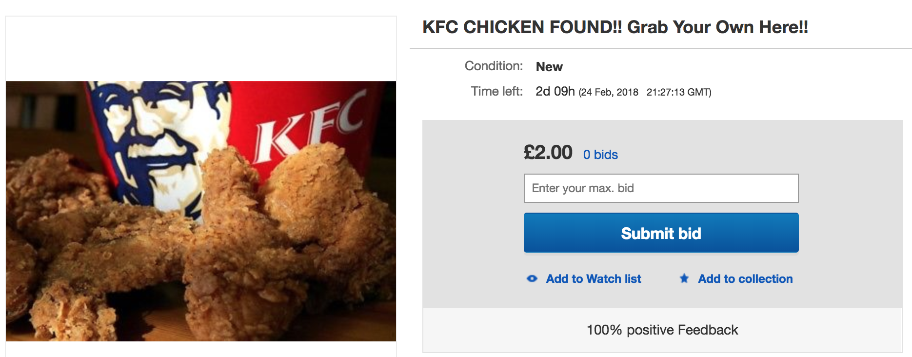 People Are Selling KFC Bargain Buckets for £100 on eBay Following