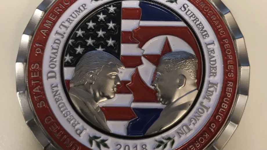 White House releases unexpectedly romantic coin featuring Trump and Kim Jong Un