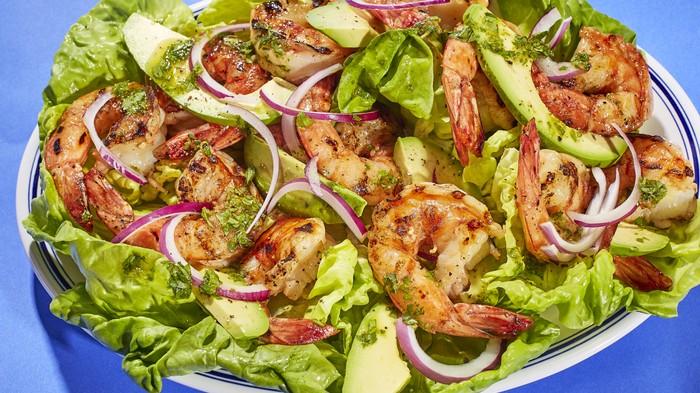 Grilled Shrimp with Avocado and Cilantro Dressing Recipe
