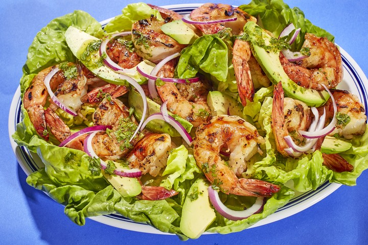 Grilled Shrimp with Avocado and Cilantro Dressing Recipe