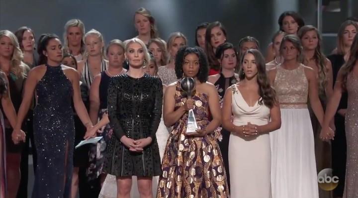 Watch Aly Raisman Give a Powerful ESPYs Speech Next to 140 Sexual Assault Survivors