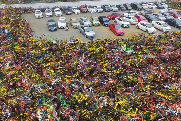 This Drone Footage Captures China's Massive Bikeshare Graveyards