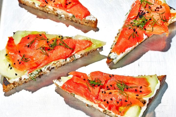 Smoked Alaska Salmon Toasts Recipe