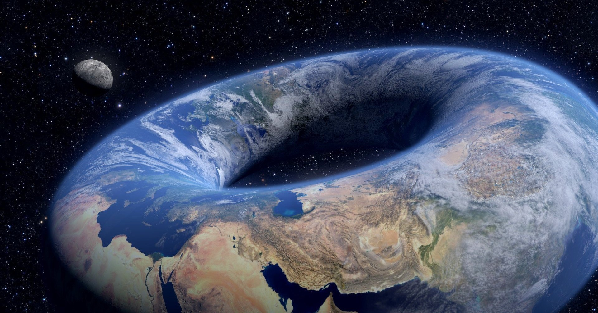 apparently some people believe the earth is shaped like a donut vice