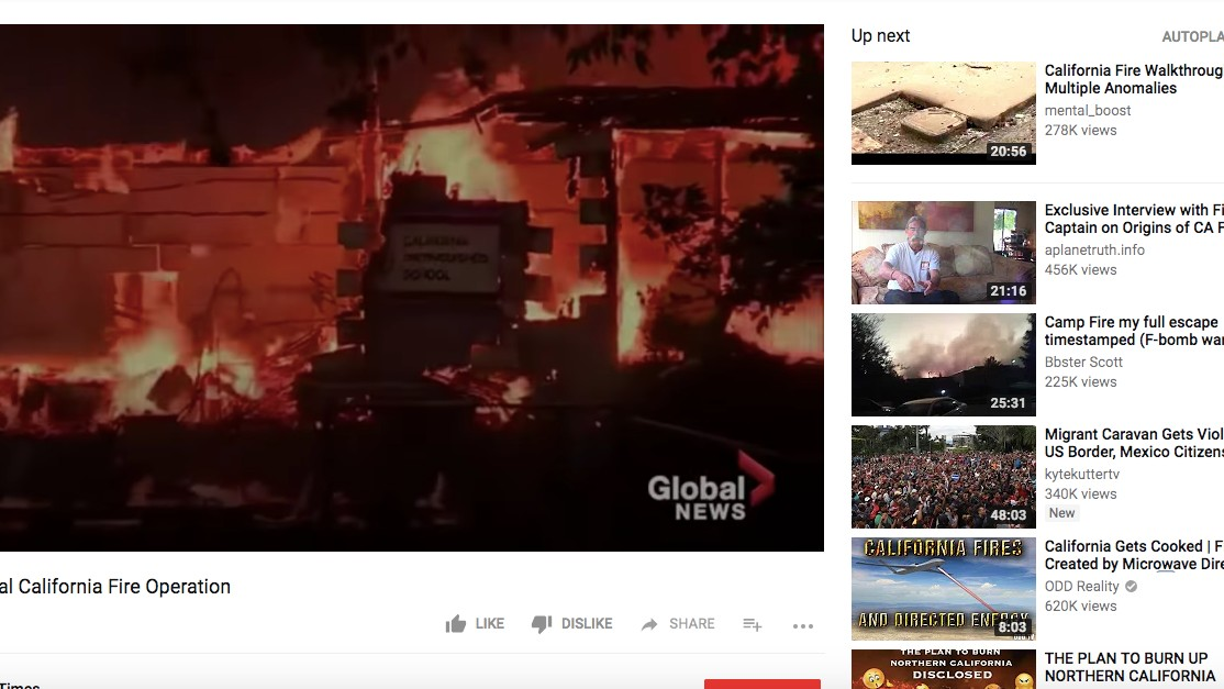 YouTube Lets California Fire Conspiracy Theories Run Wild
