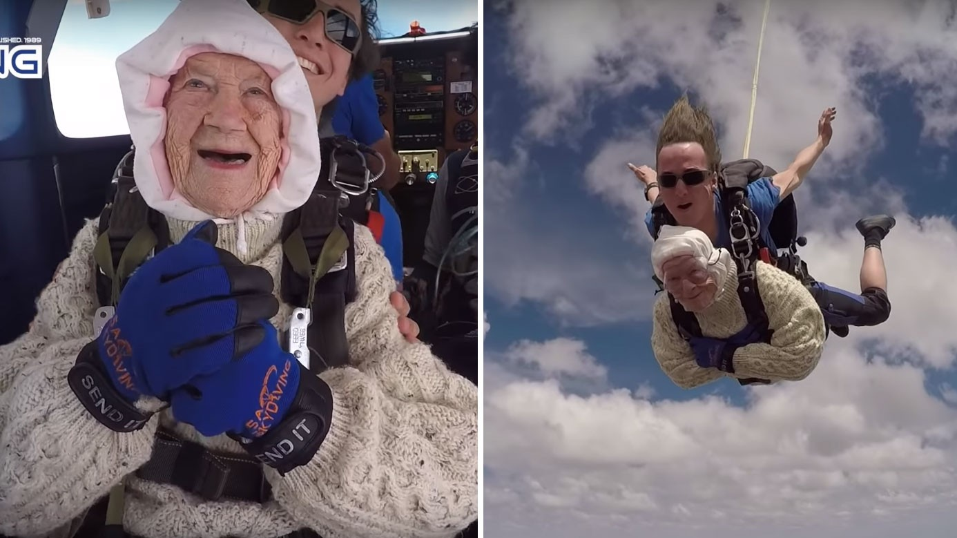 Watch This 102-Year-Old Woman Become the Oldest Person to Go Skydiving