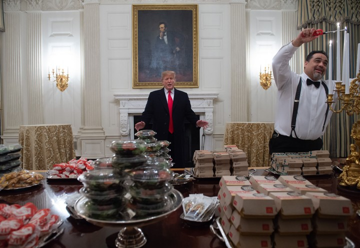 It's Tuesday, January 15, and Trump Really Served 'Hamberders' to NCAA Champs
