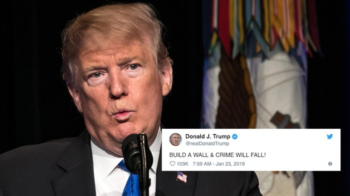 People Turned Trump's New Border Wall Slogan into a Meme Dunking on Him