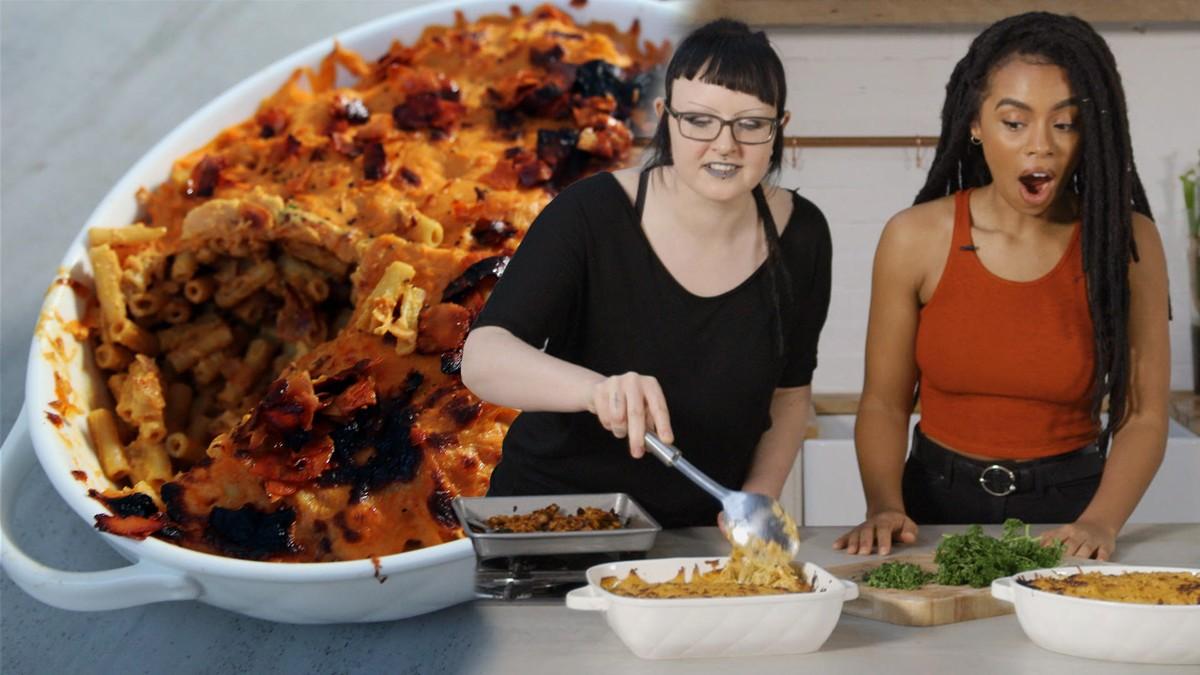 """Video: Veganes Mac'n'Cheese mit """"Speckstückchen"""""""