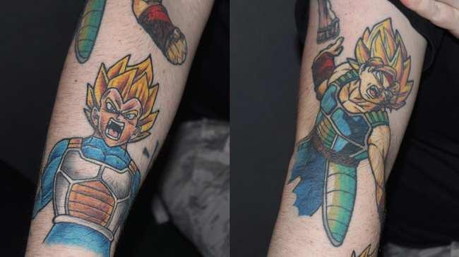 01eee5704 'Dragon Ball Z' tattoos at a fan screening of 'Dragon Ball Super: Broly'.