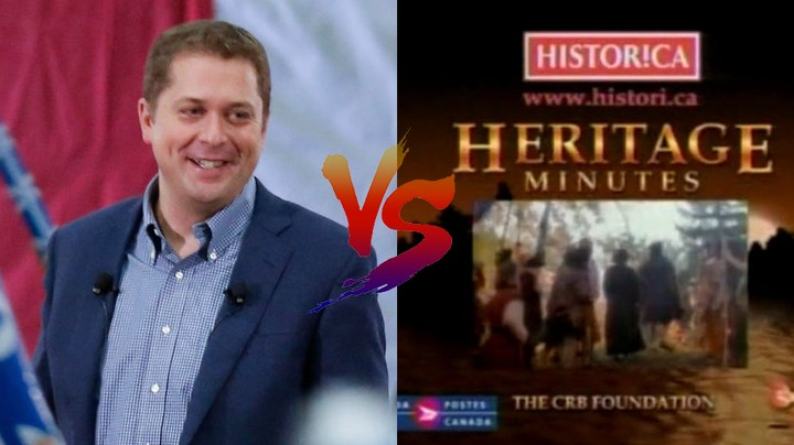 Andrew Scheer Is Beefing With Heritage Minutes Over a Justin Trudeau Attack Ad