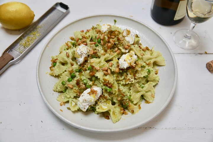 Green Pea and Ricotta Farfalle Recipe