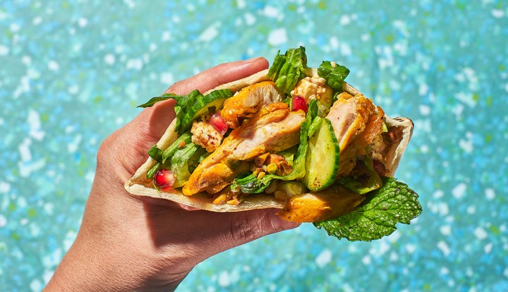 Saffron Chicken and Pomegranate Salad Pitas Recipe - VICE