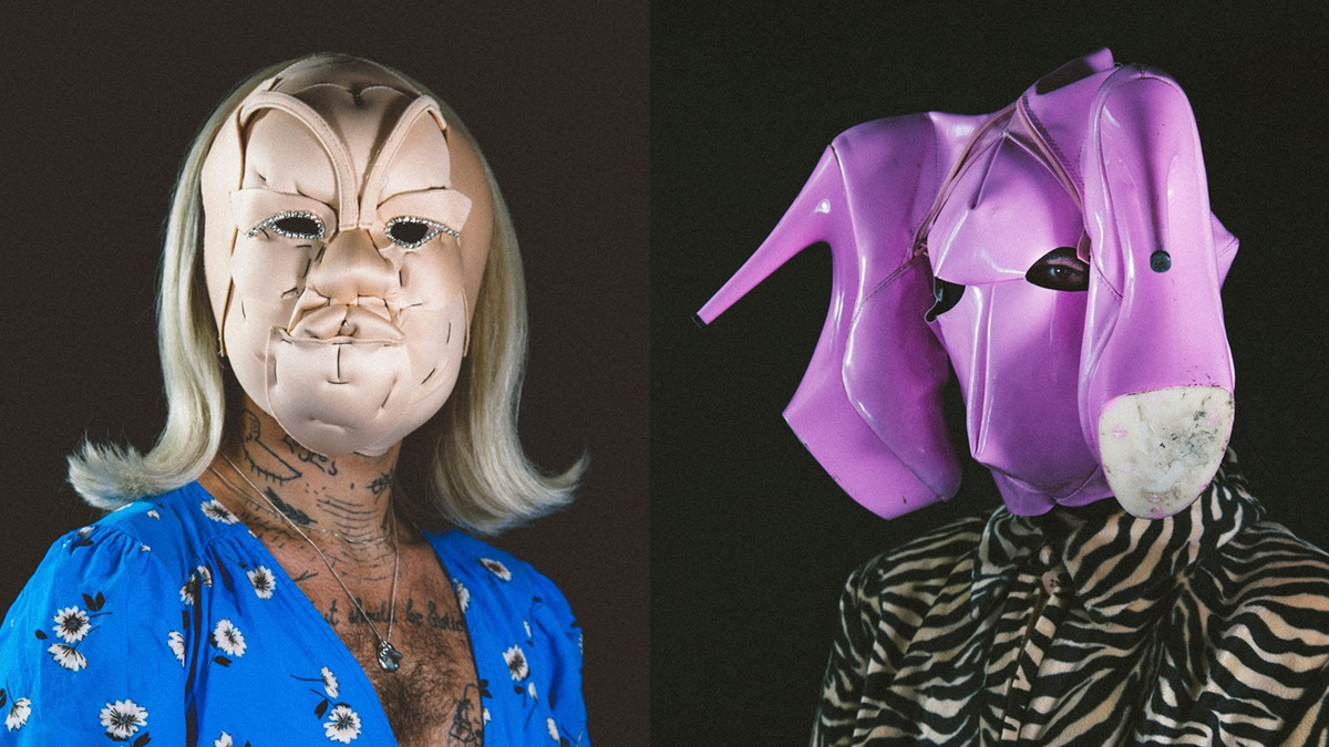 these surreal masks mirror our complex inner worlds
