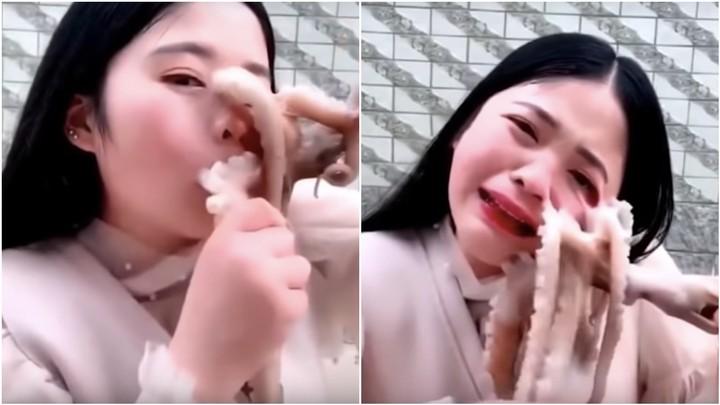 Frau will in lebenden Oktopus beißen, Oktopus beißt zurück - VICE