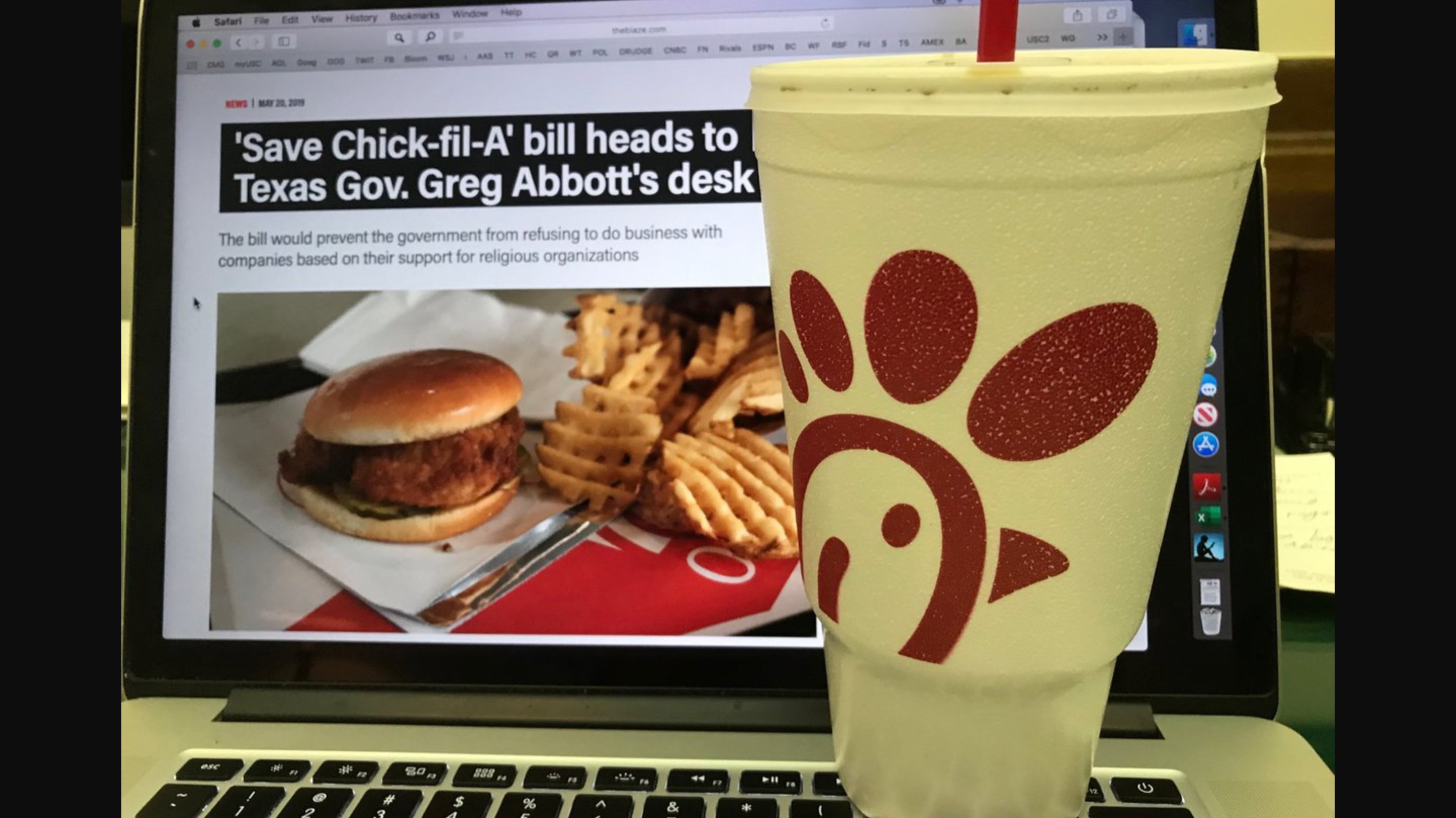 Texas Governor Risks His Laptop to Save Chick-fil-A's Right To Be Homophobic