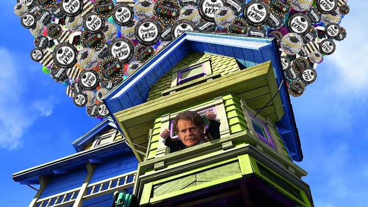 Here's William H. Macy in 'Up' Except the House Is Carried by 'Congrats Grad' Balloons - VICE