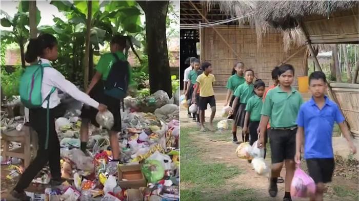 En Inde, des élèves paient leurs frais de scolarité en déchets plastiques