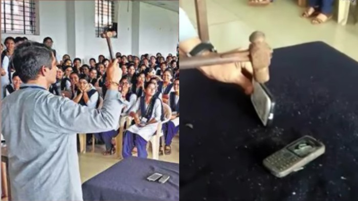 Karnataka College Principal Smashes Students' Phones With a Hammer so They Follow His Mobile Ban
