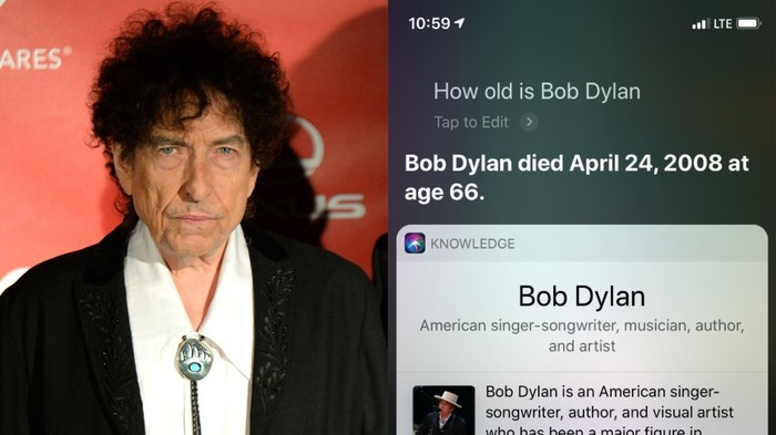 Bob Dylan Died 11 Years Ago, According to Siri