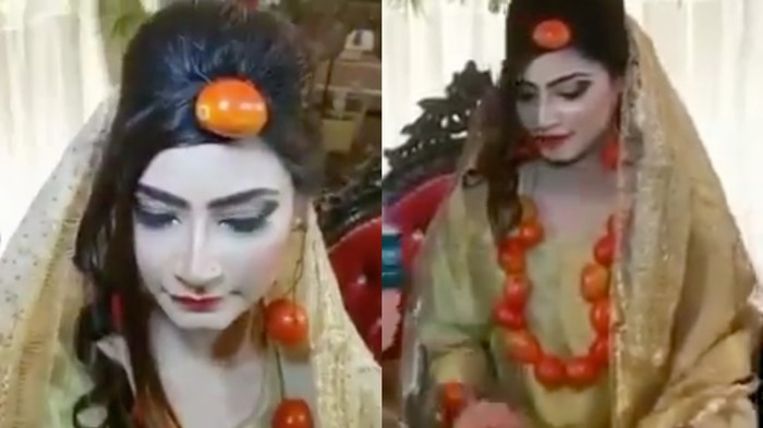 As Tomato Prices Skyrocket, a Bride in Pakistan Wears Them as Jewellery