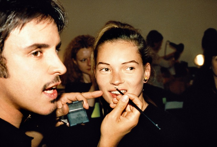 Nostalgic photos of 90s supermodels getting their make-up done