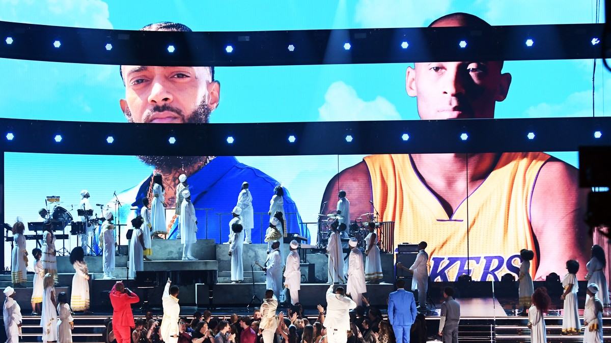 Roddy Ricch, Meek Mill, and DJ Khaled Pay Tribute to Nipsey Hussle at the Grammys