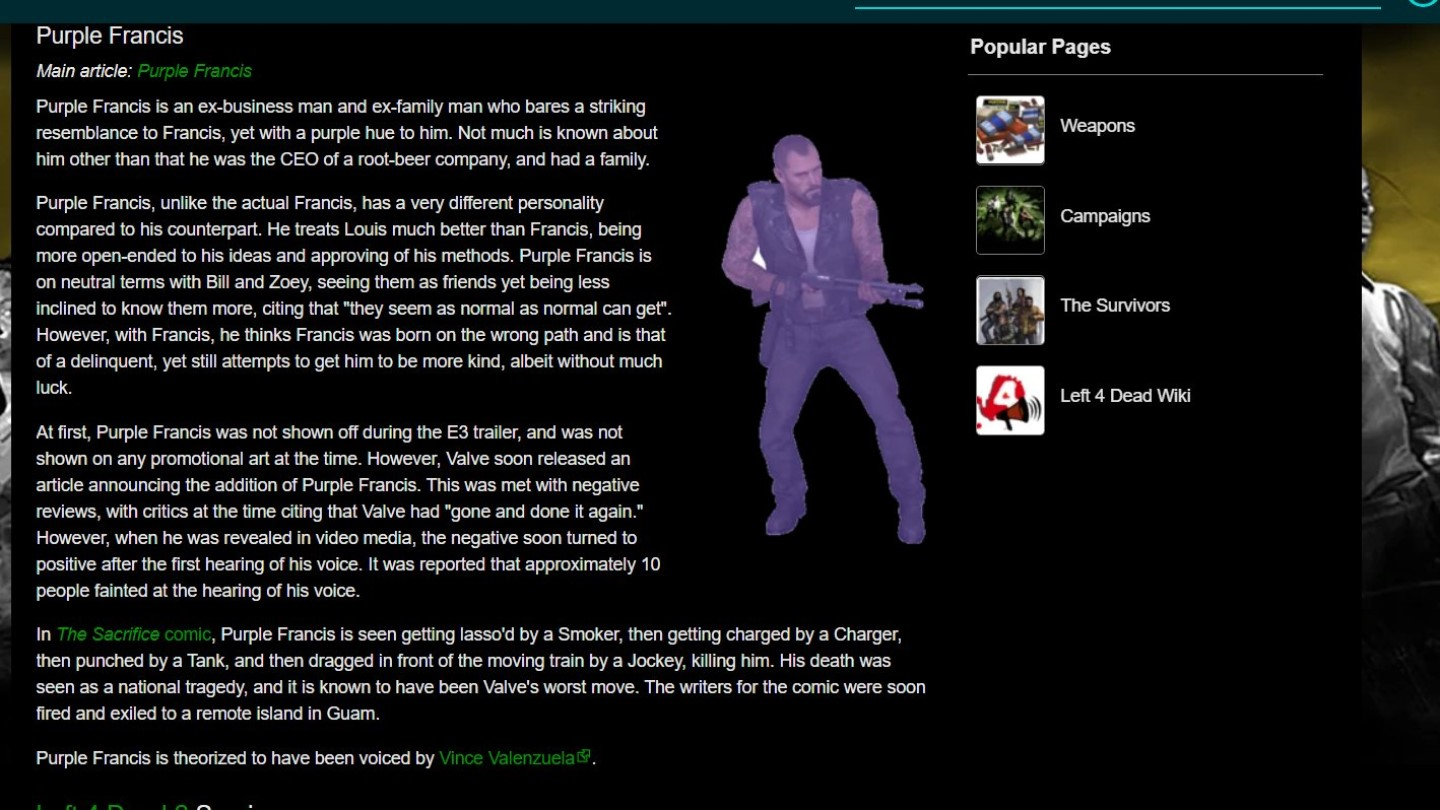 New 'Left 4 Dead' Character 'Purple Francis' Was Created by Wiki Vandals