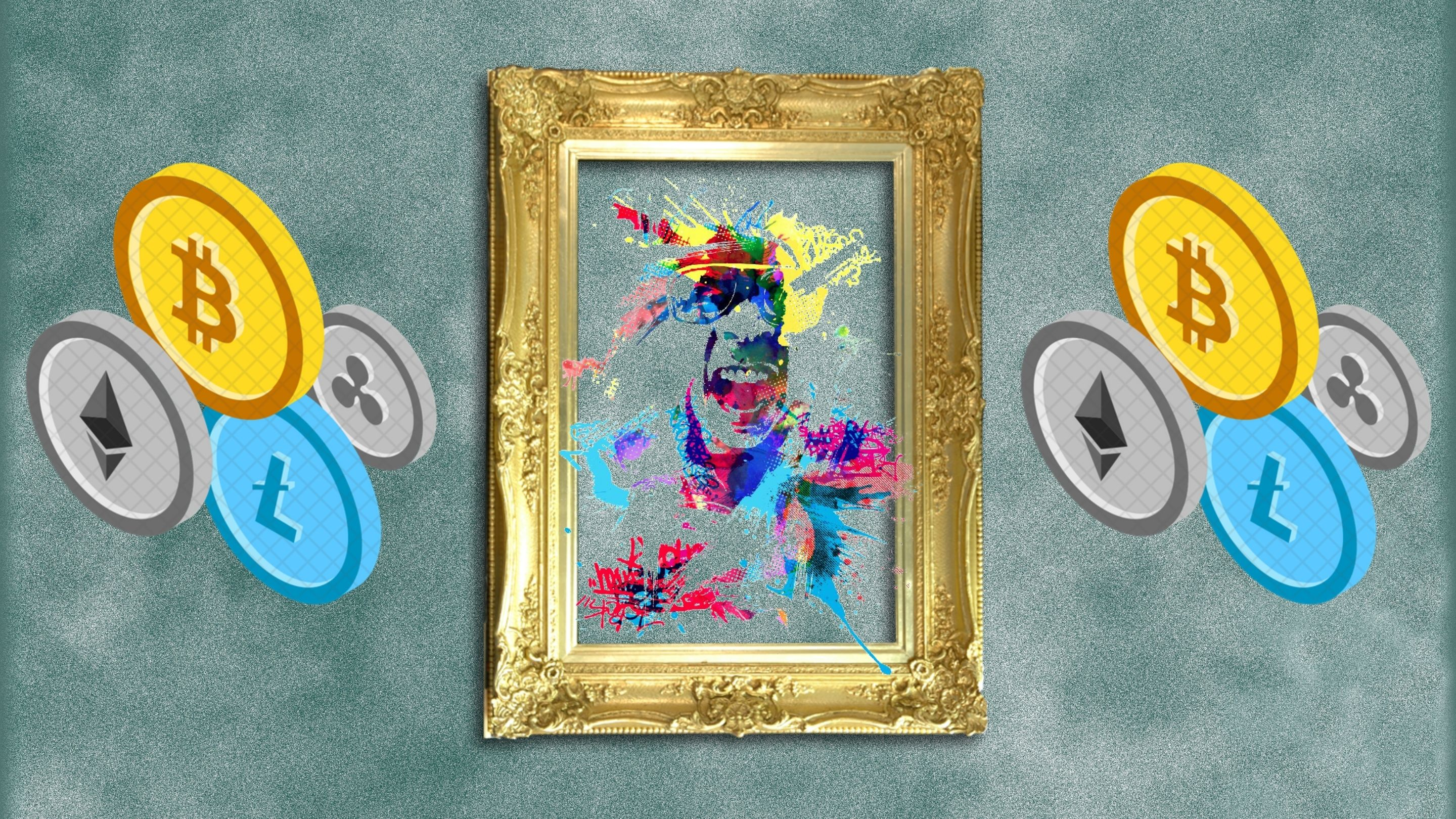 Digital illustration of crypto coins and a golden frame with a colorful face