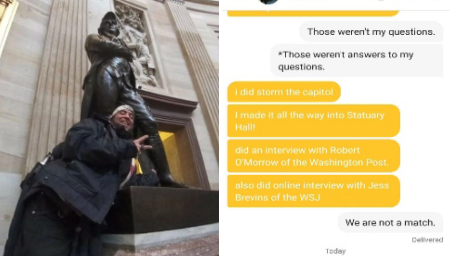 'We Are Not a Match': Bumble Date Turns Capitol Rioter In to the FBI