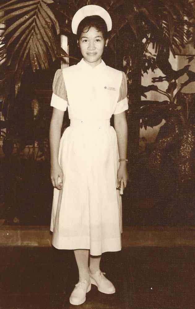 Luisa Silverio in the 1960s as a young nurse in the Philippines