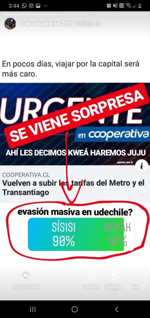 evasión masiva metro Chile