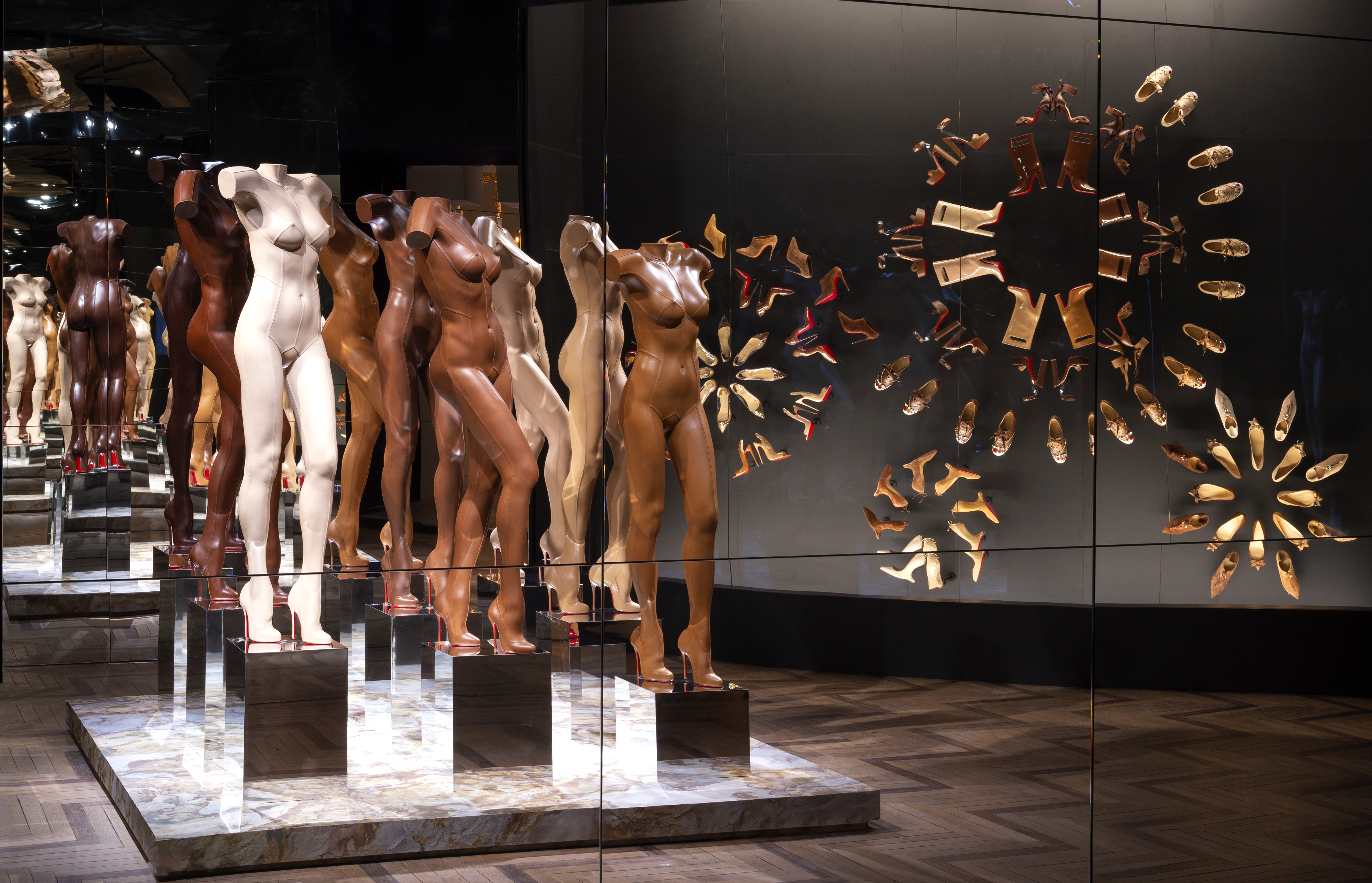 nude leather figures at louboutin exhibition
