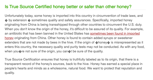 Screenshot from True Source website