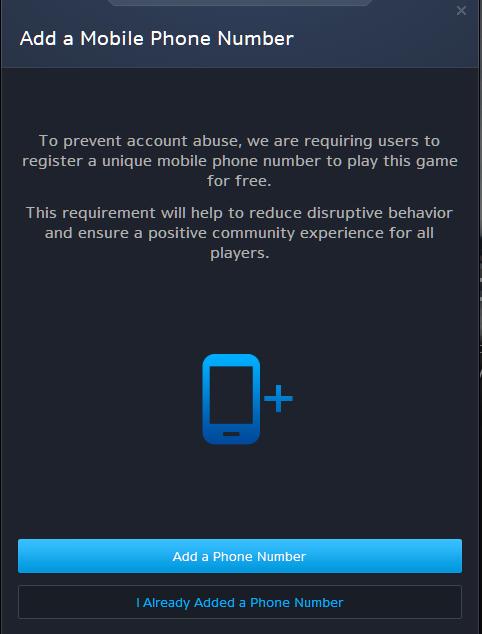 BattleNet Mobile Phone Prompt