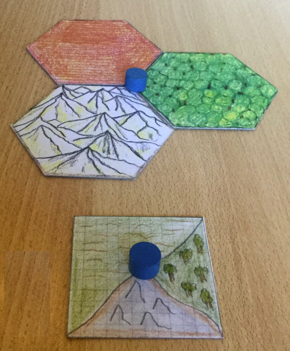 An early sketch of a Catan tile.
