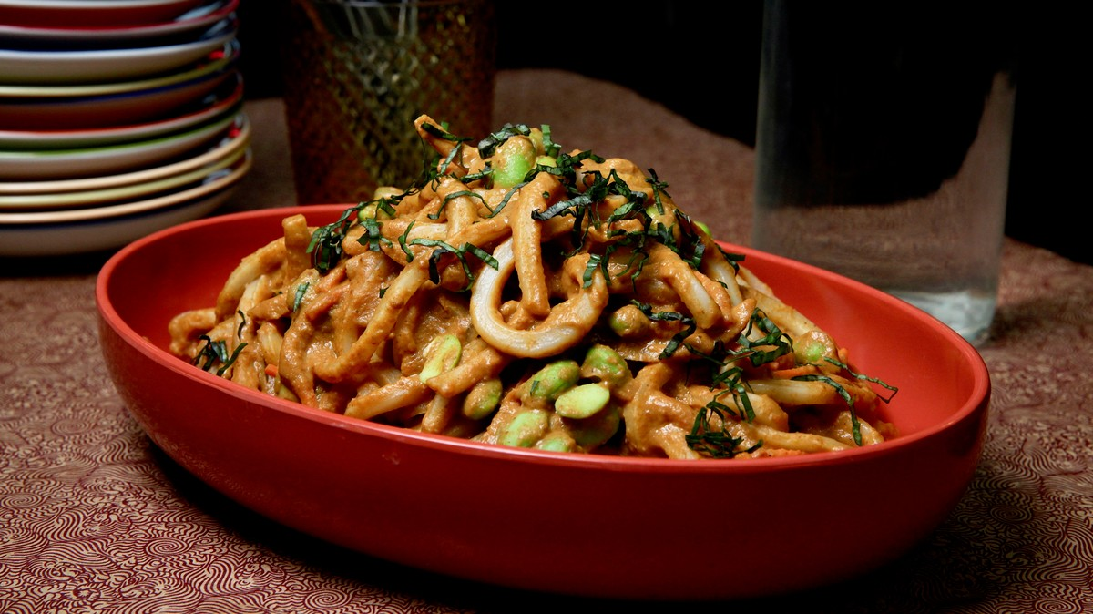 Udon Noodles with Edamame and West African Peanut Sauce Recipe