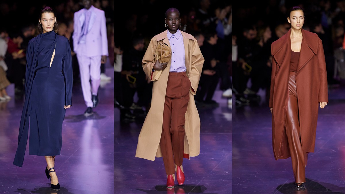 Boss AW20 was a rhapsody in tan, rust and blue