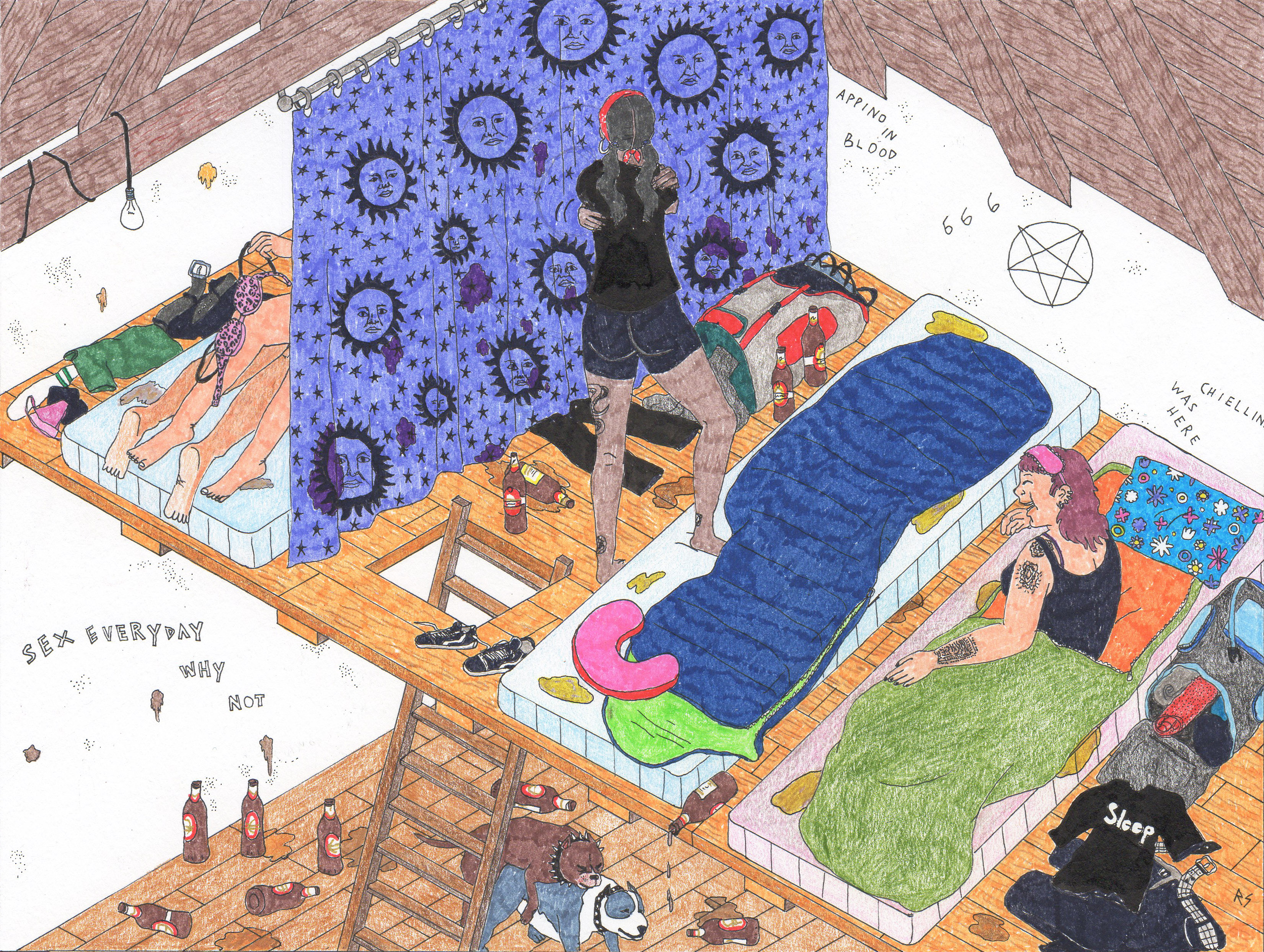 I posti per dormire sono delle specie di soppalchi intorno alla stanza dove si suona Aperti divisi da tende con delle scalette per muoversi da uno