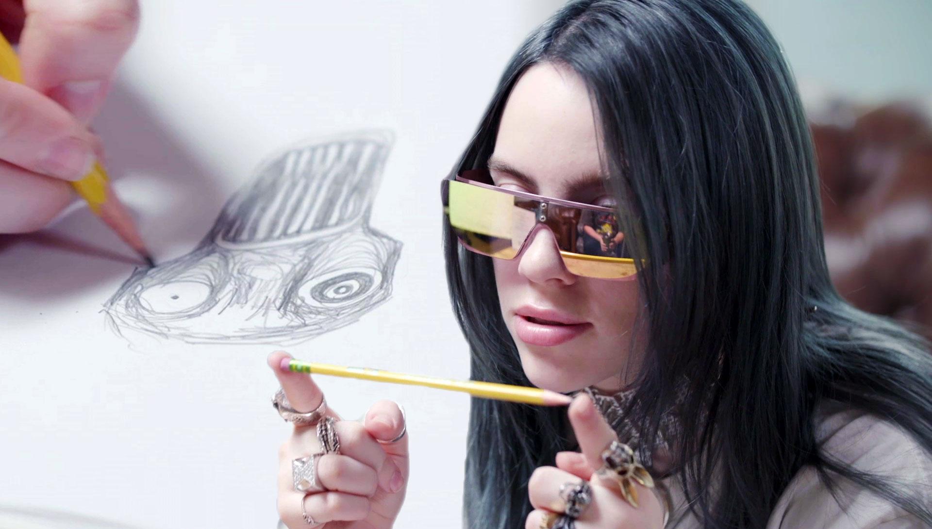 Watch Billie Eilish Talk 'Spirited Away' While Drawing Her Self-Portrait