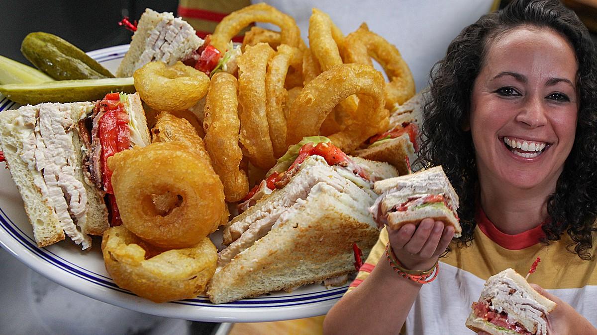Turkey Club Sandwich & Perfect Onion Rings